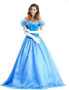 New Adult Princess Cinderella Costume Cosplay Deluxed Stage Fancy Dress S---XXXL