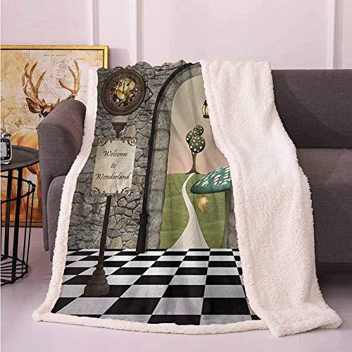 Alice In Wonderland Minecraft (Winter Blanket Fleece Throw Alice in Wonderland,Welcome Wonderland Black and White Floor Landscape Mushroom Lantern,Multicolor)