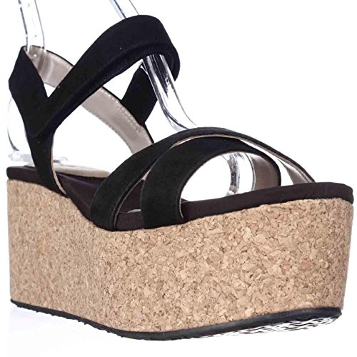 DNKY Franca Cork Platform Wedge Sandals - Black, 9 M US / 40 EU Dkny Cork Sandals