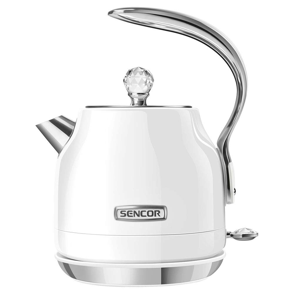 Sencor SWK40WH Elegant 1.2L Crystal Electric Kettle with 360 Degree Swivel Power Cord Base and Anti Drip Spout, Snowdrop White
