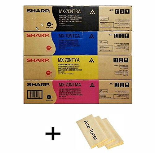 Price comparison product image Genuine Sharp MX70NTBA, MX70NTCA, MX70NTMA, MX70NTYA Toner SET, for use in Sharp MX-5500N, Sharp MX-6200N, Sharp MX-7000N, w/ micro acetoner cloth.