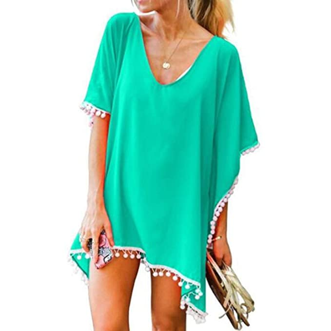 FITTOO Womens Chiffon Tassel Beach Cover Up Bathing Suit