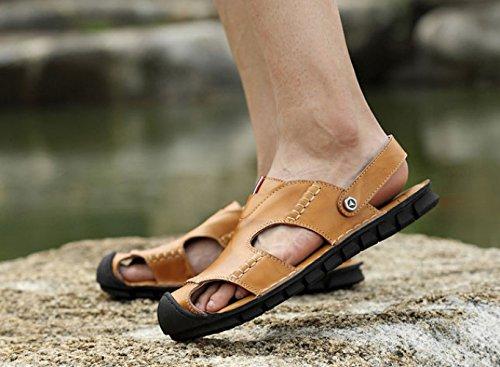 De Cuero Sandalias Hombres Verano para Playa Transpirables Zapatos Antideslizantes De Simples Sandalias De Lightbrown zvxqF8zw