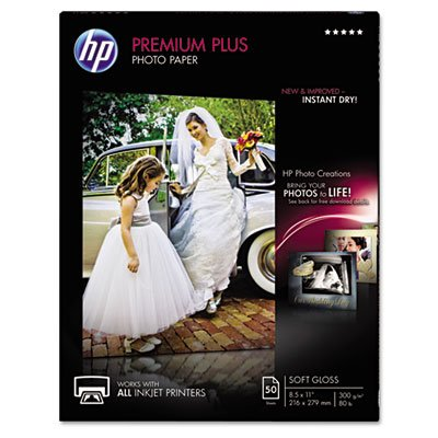 Premium Plus Photo Paper, 80 lbs., Soft-Gloss, 8-1/2 x 11, 50 Sheets/Pack, Sold as 50 Sheet