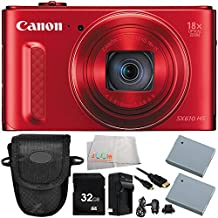 Canon PowerShot SX610 HS Digital Camera (Red) 8PC Accessory Bundle – Includes 32GB SD Card + Point & Shoot Case + 2 Replacement Batteries + MORE