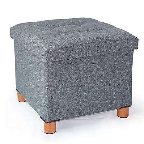 Amazon.com: Cassilia Foldable Storage Ottoman Square Cube Coffee ...