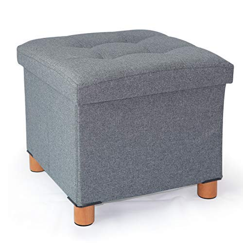 Cassilia Foldable Storage Ottoman Square Cube Coffee Table Multipurpose Footrest Stool for Bedroom and Living Room Storage (Dark Grey Ottoman)