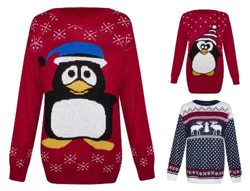 9cd4b984 Womens Knitted Snowman Reindeer Penguin Christmas Novelty Santa Jumper  Sweater Blue Hat Snowman UK 14 - AUS 14 - US 10 at Amazon Women's Clothing  store: