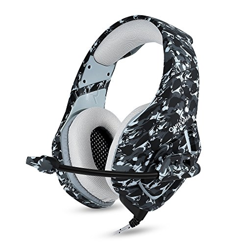 BIBOX K1 Stereo Gaming Headset, Bass Surround Headphone for PC/PS4/Xbox One with Soft Memory Earmuffs, Noise Cancelling Mic  LED Light, Compatible with Switch, Laptop, Mac, IPAD(Camouflage Gray)