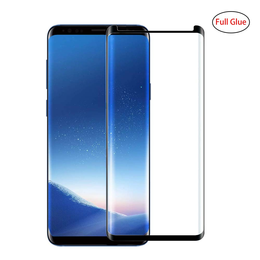 Galaxy S8 Screen Protector [Full Glue] [3D Curved Edge] [Anti-Scratch] [Auti-fingerprint] [High Definition] [9H Hardness] Tempered Glass Screen Protector for Samsung Galaxy S8- Black