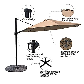 COBANA 10 Ft Offset Cantilever Outdoor Patio Hanging Umbrella 360 Rotation with Cross Base, Beige