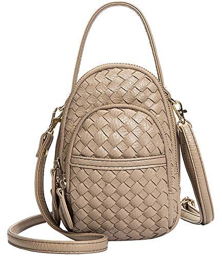 Women's 3 Zipper Compartments Small Crossbody Purse,Braided Vegan Leather Crossbody Bag Pouch for Girls (Khaki) (Coin Purse Woven Bag Zipper)