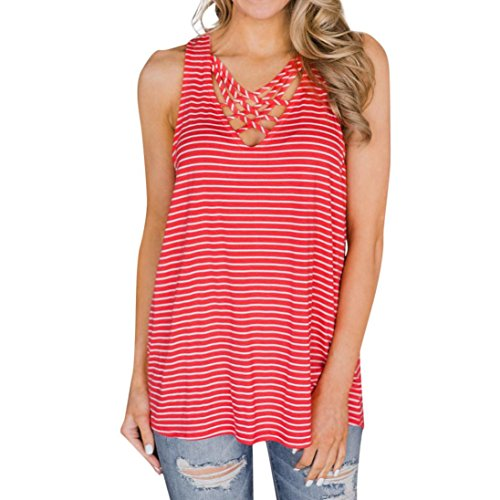 VIASA Fashion Women Summer Sleeveless Sexy Striped Vest Blouse Tank Tops Clothes T Shirt (S, Red) - Belted Charmeuse Top