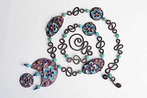 Handmade Massive Copper Necklace Painted With Colorful Enamels In Violet Colors
