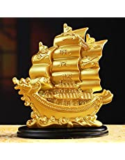 JSY Sailing Ship Statue Feng Shui Decor for Fortune, Wealth and Prosperity - Decorative Gold Wealth Sailing Boat Décor for Office and Home - Corner Living Room Nautical Decoration
