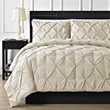 Is Cal King Bigger Than King FINE LECHO Soft Luxurious 3-Piece Pinch Pleated Pintuck Decorative Quilt Duvet Cover Set Highest Quality Egyptian Cotton 800 Thread Count Comforter Cover (King/Cal-King, Ivory