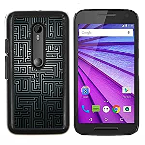 "Be-Star Único Patrón Plástico Duro Fundas Cover Cubre Hard Case Cover Para Motorola Moto G (3rd gen) / G3 ( Laberinto Negro Blanco Puzzle Misterio líneas modelo"" )"