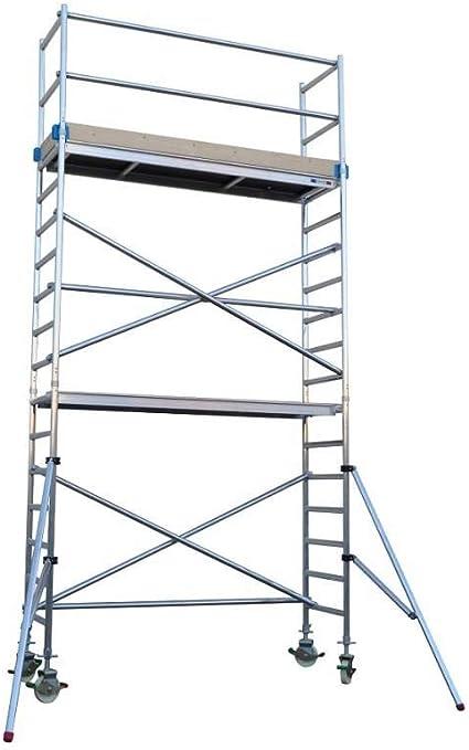 Andamio aluminio Torre PRO 75x190 - altura de trabajo 6.2 m: Amazon.es: Bricolaje y herramientas