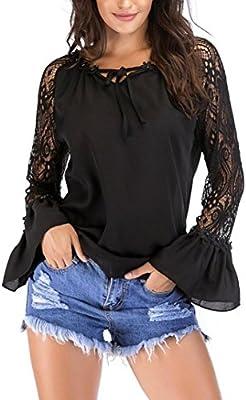 Camisa de Mujer Blusa de Mujer Sexy Moda Manga de Campana Suelto Casual Manga Larga Lunares Elegante Camisa de Gasa Tops Camiseta de Mujer LMMVP (M, B): Amazon.es: Deportes y aire libre