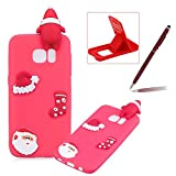 TPU Case for Samsung Galaxy S7 Edge,Soft Rubber Cover for Samsung Galaxy S7 Edge,Herzzer Ultra Slim Stylish 3D Christmas Santa Claus Series Design Scratch Resistant Shock Absorbing Flexible Silicone Back Case - Red
