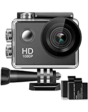 170° Wide Angle Lens 4K Full HD 2 Inch LCD 98Ft Waterproof Screen Action Camera with 2 Rechargeable Batteries and All Necessary Accessories Kit AC02