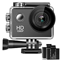 Alwaysonline 170° Wide Angle Lens Full HD 2 Inch LCD 30m Waterproof Screen Action Camera With 2 Rechargeable Batteries and All Necessary Accessories Kit