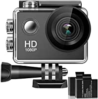KH-03 170° Wide Angle Lens 4K Full HD 2 Inch LCD 98Ft Waterproof Screen Action Camera with 2 Rechargeable Batteries and...
