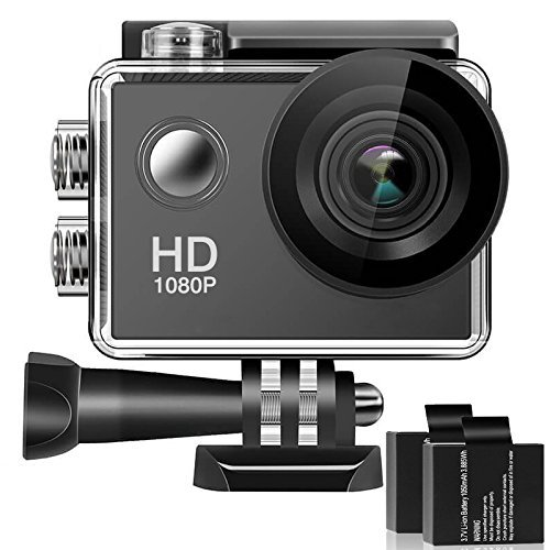 Bestsmile 170° Wide Angle Lens Full HD 2 Inch LCD 30m Waterproof Screen Action Camera With 2 Rechargeable Batteries and All Necessary Accessories Kit