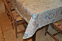 "Stitched Edge Flannel Backed Vinyl Tablecloth MULTI-COLOR GEOMETRIC Pattern - 60"" X 90"""