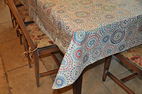 """Stitched Edge Flannel Backed Vinyl Tablecloth MULTI-COLOR GEOMETRIC Pattern - 60"""" X 90"""""""