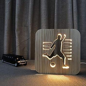 Lampe De Bureau LED 3D Illusion Lampe Football Adolescent Forme En Bois  Nuit Lumière Chevet Lumière