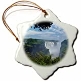 3dRose orn_188052_1 Victoria Falls, Mosi-Oa-Tunya, Zimbabwe, Africa Snowflake Ornament, Porcelain, 3-Inch