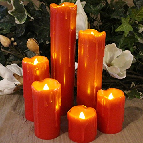"Price comparison product image LED Lytes TIMER FLAMELESS CANDLES,  SLIM Set of 6,  2"" WIDE and 2""- 9"" TALL,  Red Color Wax and Flickering Amber Yellow Flame for Weddings,  Parties and Mother's Day Gifts"