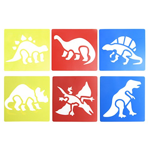 JAGENIE 6Pcs Plastic Dinosaur Picture Drawing Template Stencils Rulers Painting Kids DIYChristmas New Year Gift,1 pc, Random Delivery