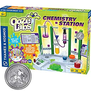 Thames & Kosmos Ooze Labs Chemistry Station Science Experiment Kit, 20 Non-Hazardous Experiments Including Safe Slime, Chromatography, Acids, Bases & More, Multi-Color