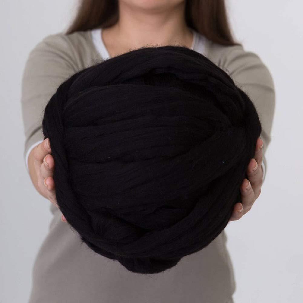 Giant Wool Yarn Chunky Merino Arm Knitting Super Soft Wool Yarn Bulky Wool Roving Black 8 lbs
