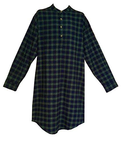 Lee Valley Men's Flannel Nightshirt (X-Large, Green Tartan) (Nightshirt Flannel Mens)