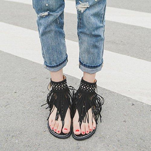 Elevin (tm) Femmes Été Mode Glands Daim Flip Flops Plage Bohème Sandales Plates Chaussures Noir
