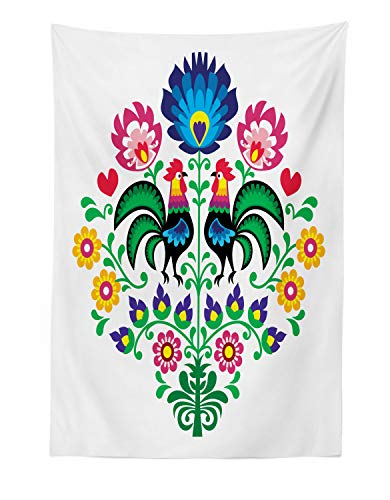 Lunarable Gallus Tapestry, Polish Pattern with Roosters Garden Happy Fashion Celebration Spring Slav Poland, Fabric Wall Hanging Decor for Bedroom Living Room Dorm, 30 W X 45 L Inches, Multicolor -