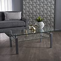Finanar Modern Tempered Glass Coffee Table