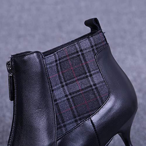 KPHY Damenschuhe Im Frühling Und Herbst Herbst Herbst Winter 6 cm Heel Martin Stiefel Leder 100 Setzt Darauf Dünn Schuhe Stiefel 160cf2