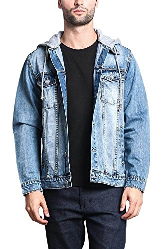 (Victorious Hoodie Layered Distressed Denim Jacket with Removable Hood DK109 - Indigo - Large - EE1F )