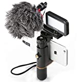 Smartphone Video Rig, Cell Phone Video Recording Kit Vlogging Stabilizer Equipment Bundle with Mini Cardioid Microphone ,Selfie LED Light, Solid Aluminum Cold Shoe Extension Bar for iPhone Smartphones