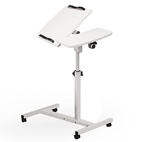 Tloowy Turnlift Sit Stand Mobile Laptop Desk Cart With Side Table  Adjustable Mobile Laptop Computer