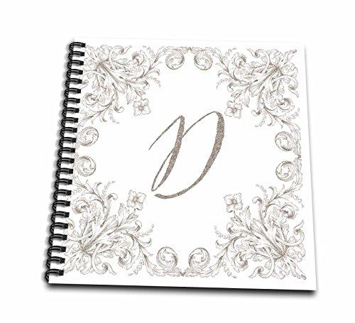 3dRose Uta Naumann Personal Monogram Initials - Letter D Personal Luxury Vintage Glitter Monogram-Personalized Initial - Memory Book 12 x 12 inch (db_275303_2) (Personal Monogram)
