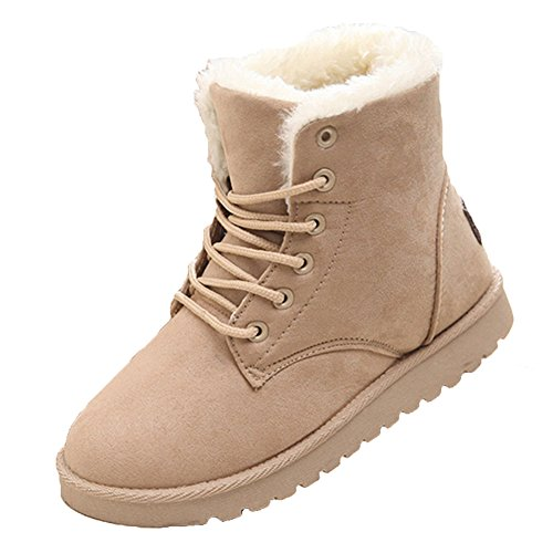 Mujer Tobillo Botas Cordón Arriba Zapatos Combate Excursionismo Casual Botas Plano Corto Botas Calentar Invierno Zapatos Obrero Botas Kootk Beige