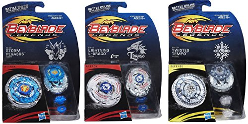 Beyblade Legends BB-104 Twisted Tempo 145WD Top, BB-28 Storm Pegasus 105RF Top & BB-43 Lightning L-Drago L100HF Tops Bundle