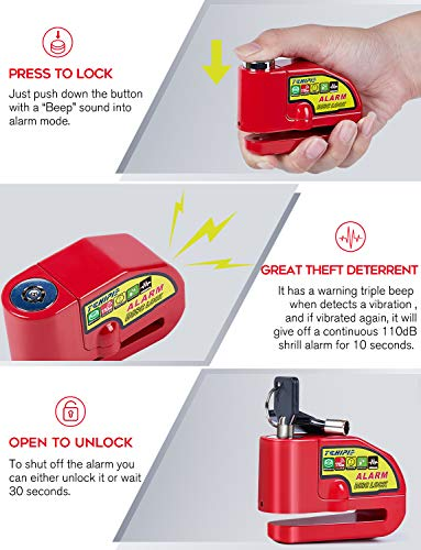 Tchipie Red Alarm Disc Lock 110dB Anti Theft Motorcycle Wheel Padlock for 7mm Brake Rotor with 5feet Reminder Cable 3 Keys Carry Pouch for Bike Motorbike Scooter Honda Yamaha Harley BMW Piaggio etc