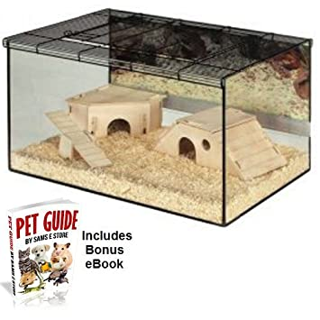 Ongebruikt Hamster Terrarium Small Pet Glass Aquarium includes Wooden SK-64