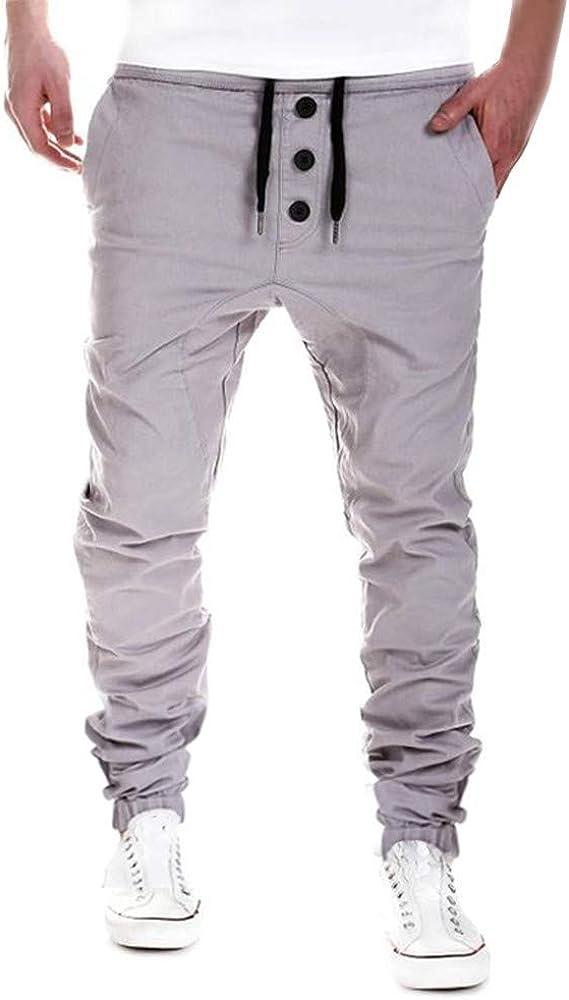 Hombre Oliviavan Pantalones Largos Para Hombre Deportivos Elasticos Al Aire Libre Con Tres Hebillas Pantalones Harem Pantalones Casuales Ropa Ak Oz Com